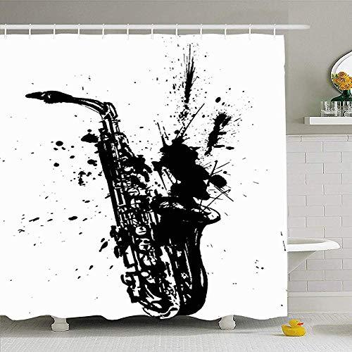 Hotyle Duschvorhang Set mit Haken 120X180Cm Skizze Blues Metal Handmade Saxophon Jazz Illustrationvector Instrument Objekte Instrumental Tone
