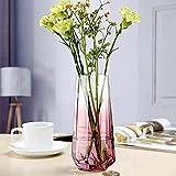 Vaso da fiori in vetro, stile Ins, vaso trasparente con fondo a diamante, fatto a mano, vaso per fiori e piante idroponiche, ideale per matrimoni, feste di inaugurazione della casa, ufficio