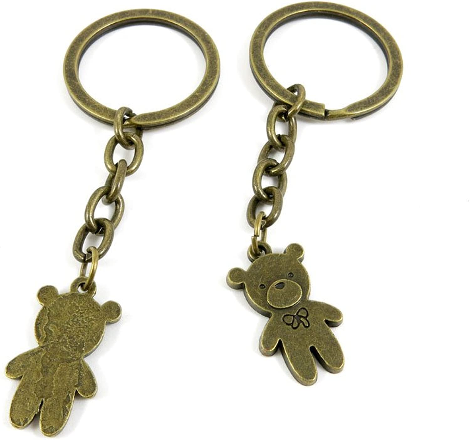 80 PCS Keyring Car Door Key Ring Tag Chain Keychain Wholesale Suppliers Charms Handmade A5NA1 Teddy Bear
