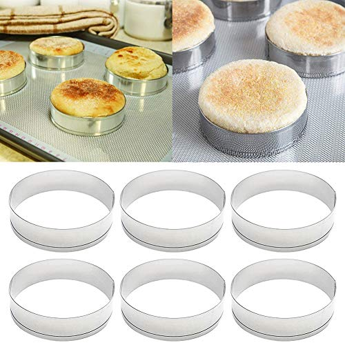 Difcuy Baking Rings,6Pcs Stainless Steel Cake Muffin Crumpet Bread Rings Bakery Baking Mold Tools