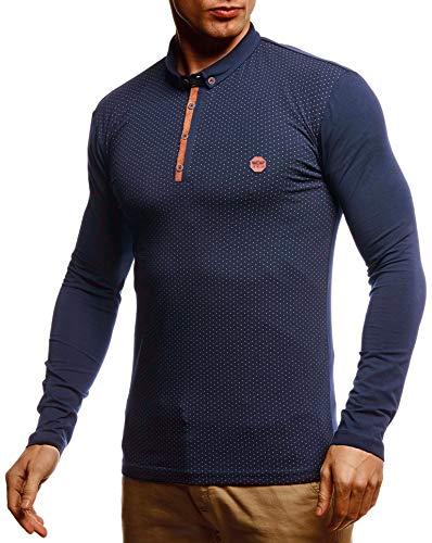Leif Nelson Herren Polo-Shirt Langarmshirt Slim Fit Baumwolle-Anteil Basic Männer Longsleeve Pulli Blaues Sweatshirt Poloshirt Pullover T-Shirt Langarm LN55135 Blau Large