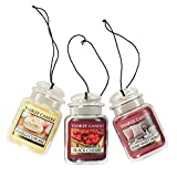Yankee Candle Car Jar Ultimate Hanging Air Freshener 3-Pack (Vanilla Cupcake, Black Cherry, and Home Sweet Home)