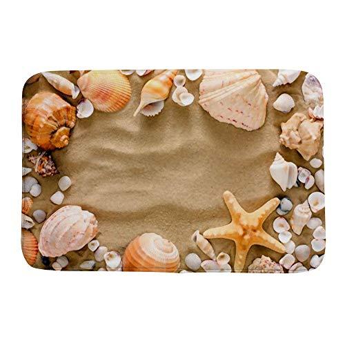 ZHIMI Bath Mat Rugs Non-Slip Memory Foam Soft Floor Mats Bathroom Decor Mat Seashells Starfish and sea Pebbles on Beach Sand Absorption Quickly Drying Comfort Shower Rug