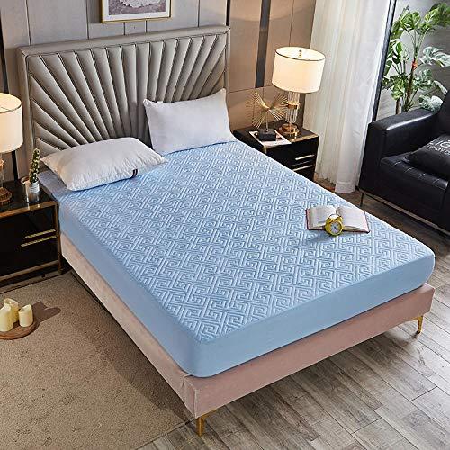 CYYyang Funda de Colchón con Tratamiento Antiácaros y Transpirable Cubierta Protectora de sábana Gruesa-Azul Cielo [Patrón de Espalda] _135 * 200cm