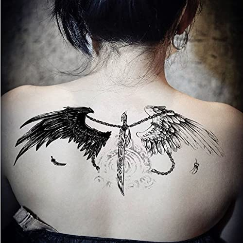 JZLMF Tatuajes adhesivos impermeables con alas de ángel y diablo para hombre y mujer, 3 hojas