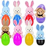 Easter Eggs Filled withPlush Bunny - Surprise Plastic Colorful Easter Egg Toys - Great Party Bag Stuffer Rewards(8 Pack)