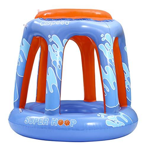 CLISPEED PVC Aufblasbarer Basketballkorb Wasser Basketballspiel Set Wasserspiel Strand Schwimmen Basketballkorb mit 2 Aufblasbaren Basketball