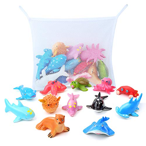 GizmoVine Juguete de Baño Animal Marino Juguetes para Niños Educativo Animal Figuras de Aprendizaje Baño Bebes con Caja de Regalos y Bolsa Organizadora para Niños Niñas Cumpleaños