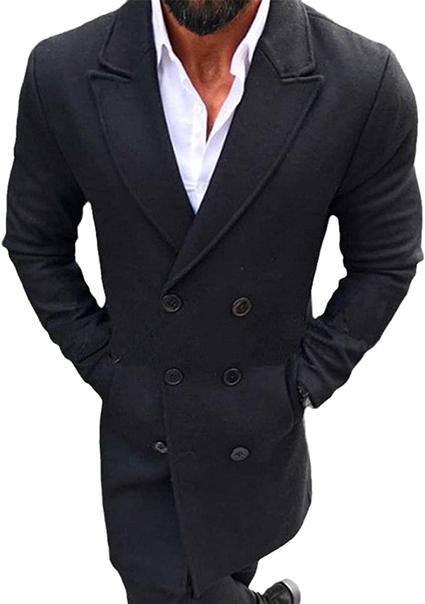 Winter Fashion Cardigan Men's Wool Coat Windbreaker Warm Long Lapel Jacket
