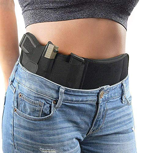ALLSAFECOO Ultimate Belly Band Gun Holster for Concealed Carry | Compatible with Smith and Wesson, Shield, Glock 19, 17, 42, 43, P238, Ruger LCP, and Similar Guns (M - 44 inch)