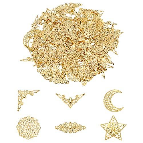 PandaHall 72 adornos de esquina de filigrana de hierro con 24 piezas de 4 estilos de filigrana, conectores de colonas, enlaces grandes de resina para hacer joyas de bricolaje