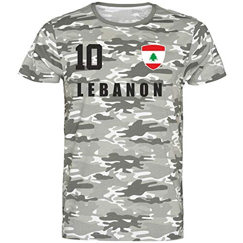 Nation Libanon T-Shirt Camouflage Trikot Style Nummer 10 Army (M)