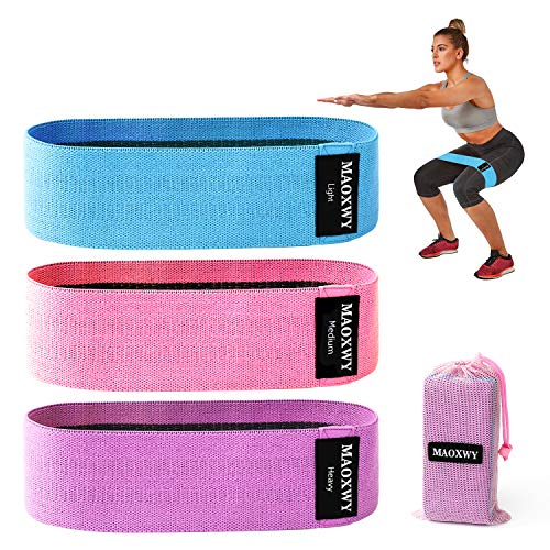 MAOXWY Resistance Bands Set, 3 Pack Fabric Elastic Booty Bands with 3 Resistance Levels, Non-Slip Exercise Workout Bands Hip Bands for Legs and Butt,Squats, Deadlifts, Pilates, Yoga, Stretching