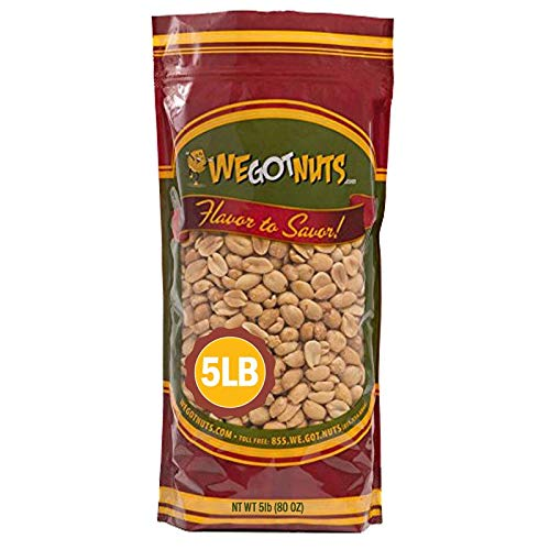 Roasted Unsalted Jumbo Peanuts, Blanched , 5 Pound Bulk Bag - We Got Nuts