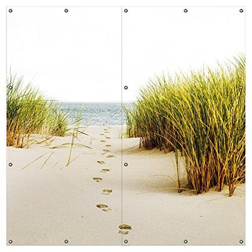 Wallario XXL Garten-Poster Outdoor-Poster - Spuren im Sand- Fußspuren durch die Düne zum Meer in Premiumqualität, für den Außeneinsatz geeignet