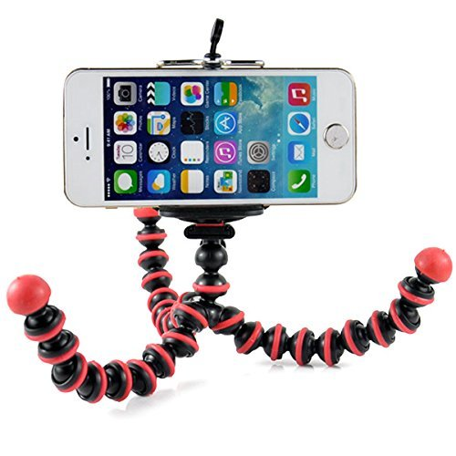 Case Star Octopus Style Portable and Adjustable Tripod Stand Holder for iPhone, Cellphone, Camera and Case Star Cellphone Bag-Red and Black