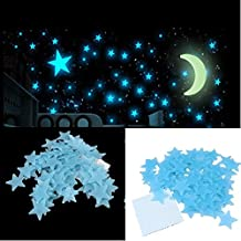 Stickonn Blue Colour Fluorescent Glow in The Dark Star Wall Sticker(100 Stars and 1 Moon,Size: 3x3 cm)