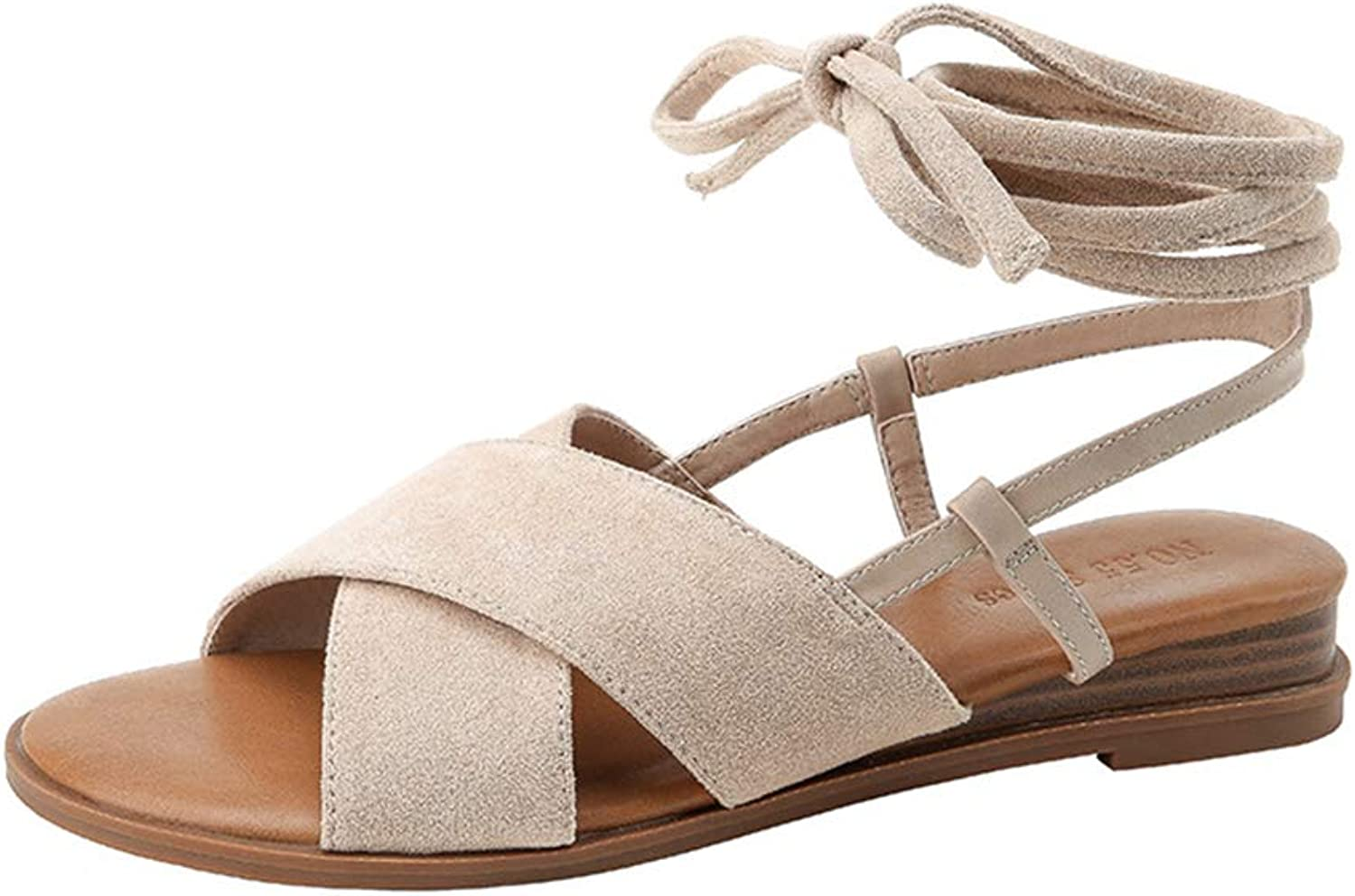 Womens Sandals Flat Suede Ladies Credver Summer shoes with Ankle Strap shoes Walking shoes Driving shoes,Brown,38