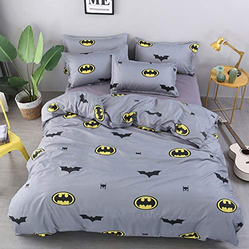 Queen Duvet Cover Set with 1 Comforter Cover 2 Pillow Covers 1 Flat Sheet, Printed Cartoon Pattern Batman Comforter Cover Set Bat Bedding Set for Teens Boys Girls (No Comforter)