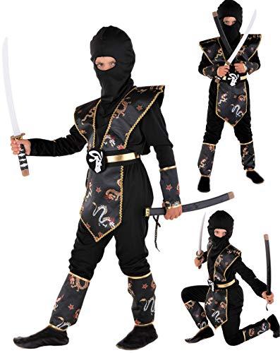 Magicoo Drago Ninja Costume per Bambini Ragazzi Nero Oro Taglie: 4-12 Anni – Costume di Carnevale Travestimenti Ninja Ragazzo (7-9 Anni)