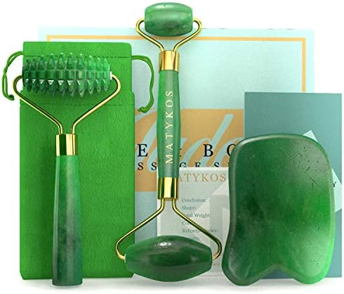 3 in 1 Jade Roller for Face and Gua Sha Set Helps Reducing Drainage Puffiness Wrinkles Authentic product image