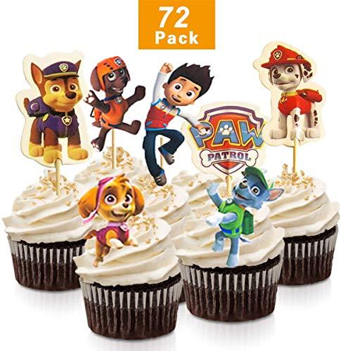 72 piezas de decoración para tartas de cumpleaños de la Patrulla Canina, decoración para cupcakes para cumpleaños de niños, fiesta de baby shower, bricolaje lindo tema decoración de pasteles