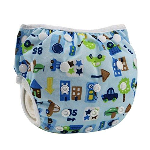 HAPPY CHERRY Babywindeln Waschbare Baby Schwimmwindel Windel Hose Gebäude Auto Drucken Baby-Tuch Windeln Stoffwindeln Größe Verstellbar - Blau