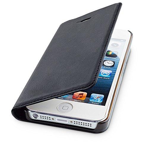 WIIUKA Echt Ledertasche - TRAVEL - für Apple iPhone 5 / 5S / SE mit Kartenfach, extra Dünn, Tasche Schwarz, Leder Hülle kompatibel mit iPhone 5/5S/SE
