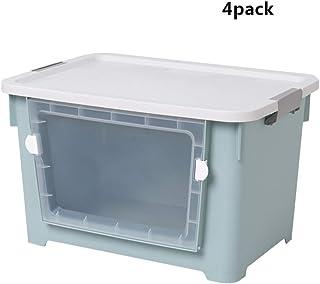 SHENRQIA Boîtes De Rangement Empilables - New Top Box Plastique, Transparentboîtes De Rangement avec Couvercle - Modular C...