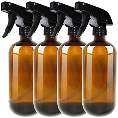 16oz Empty Amber Boston Spray Bottles (4 Pack) - Refillable Container with Trigger Sprayers, Caps and lables, Glass Bottle for Essential Oils, Cleaning, Room Spritzers or Aromatherapy by THETIS Homes