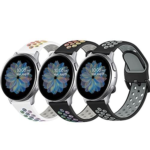DEOU 3Pack Correa para Samsung Galaxy Watch Active 2 40mm 44mm & Galaxy Watch Active & Galaxy Watch 3 41mm & Galaxy Watch 42mm,20mm Silicona Pulseras de Repuesto para Galaxy Watch Active 2(S,3Pack A)