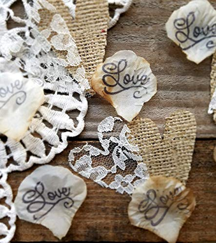 Burlap and Lace Rose Petals, Rustic Wedding Decor, Wedding Table Decorations Rustic, Confetti, Country Wedding