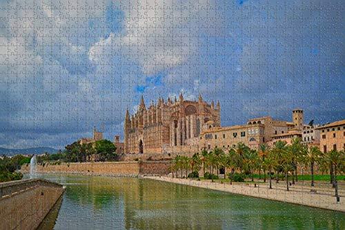 Rompecabezas de la Catedral de España Palma de Mallorca para Adultos, 1000 Piezas, Regalo de Viaje de Madera, Recuerdo