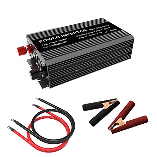 SHIERLENG 2000 Watt Power Inverter DC 12V to 110V AC 1000W Continuous Pure Sine Wave Converter with Alligator Battery Wire Dual LCD Display for Solar Panel Kit, Home, RV, Truck, Boat