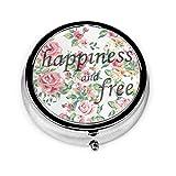 Organizador de Happiness and Free Floral Caja redonda compacta con 2 compartimentos para vitaminas y tabletas, contenedor de metal portátil para necesidades diarias, bolso de viaje bolsillo