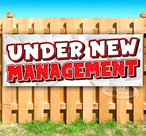 Under New Management 13 oz Heavy Duty Vinyl Banner Sign with Metal Grommets, New, Store, Advertising, Flag, (Many Sizes Available)