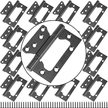 ZEONHAK 16 Pack 8 Pairs 4 x 3 Inches Black Non Mortise Door Hinges Heavy Duty Door Hinges Stainless Steel Door Hinges with Mounting Screws