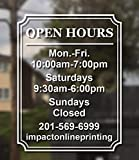 Custom Business Hours Window Decal - Frame Design-Vinyl Custom Lettering, Glass Door Sign - Free Squeegee - Easy Install Manual (14X18)