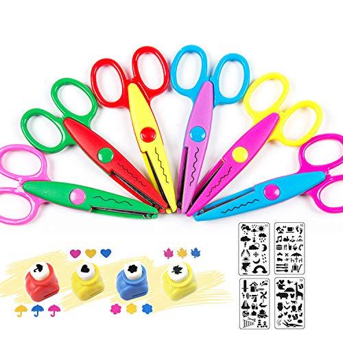 Bastelscheren,Kinderschere,Gezackte Schere,6 Schnittmuster DIY Fotogestaltung basteln kreativ Werkzeug Schere,Zickzackschere Eltern Kindergruppe