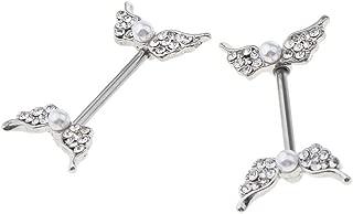 2pcs Rhinestone Nipple Shield Angel Wing Nipple Rings Faux Pearl Barbell (Color - Silver)