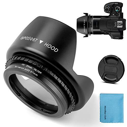 Anillo adaptador de filtro de metal de 67 mm para Canon PowerShot SX30 IS/SX40 HS/SX50 HS SX70HS de repuesto de cámara digital Canon FA-DC67A adaptador de filtro tulipán flor parasol filtro UV