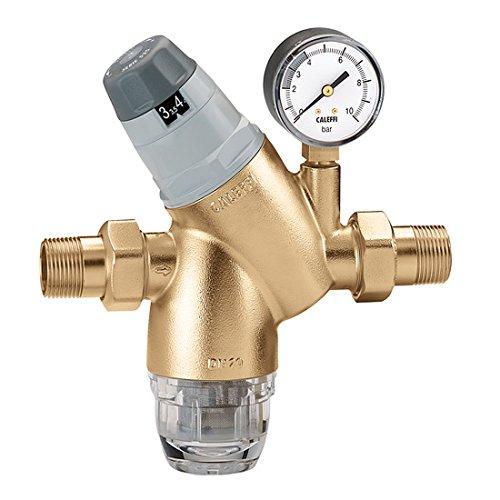 Caleffi Druckminderer mit austauschbarer Kartusche 1/2 Zoll DN15 Wasserdruckminderer mit Filterkartusche und Manometer, Druckminderungsventil, Druckregler 535141
