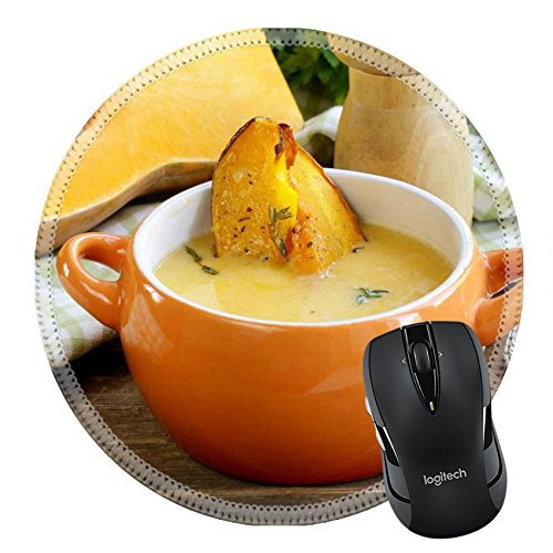 MSD Naturkautschuk Mousepad rund Mauspad 21975451Kürbis creme Suppe mit Stücken schmoren Kürbis und Thymian
