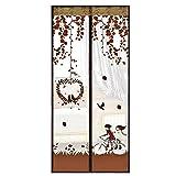 Gosear 39 x 82 Pulgadas Anti Mosquito Cortina de Malla para Puerta/Magnética Pantalla Cortina de Anti Insectos con Velcro (Estilo de Dibujos Animados,Marrón)