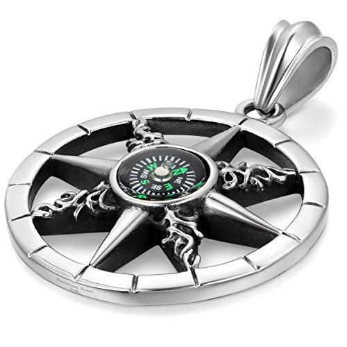 JewelryWe Schmuck Edelstahl Retro Kompass Rad des Lebens Herren-Anhänger mit 55cm Kette, Biker Halskette, Schwarz Silber
