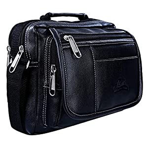 Leather World PU Leather Stylish Sling Bag Men Women Cross Body Travel Messenger (22 x 8 X 21 cm) (Black)