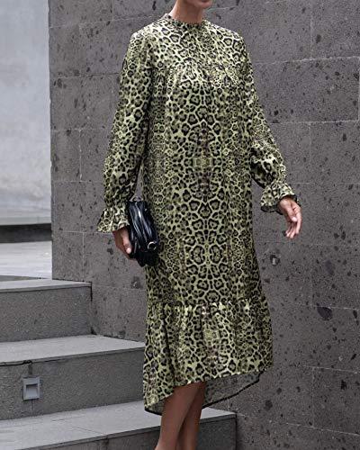 The Drop Women's Green Animal Print Long-Sleeve Ruffle-Hem Midi Dress by @jonnycota