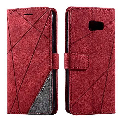 Hülle für Samsung Galaxy A5 2017, SONWO Premium Leder PU Handyhülle Flip Hülle Wallet Silikon Bumper Schutzhülle Klapphülle für Galaxy A5 2017, Rot