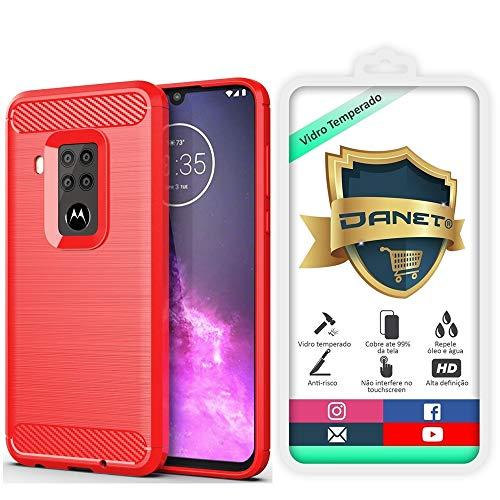 Kit Capa Capinha Anti Impacto Para Motorola Moto One Zoom Tela 6.4Case Com Desenho Fibra De Carbono E Película De Vidro Temperado - Danet (Vermelho)
