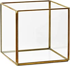 Serene Spaces Living Square Gold Lantern, Measures 5 inches Cube, Sold Individually